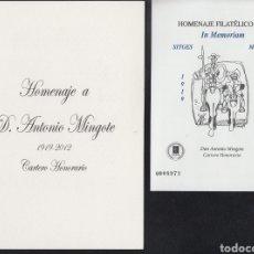 Sellos: ESPAÑA SPAIN HOMENAJE FILATÉLICO 8A EDIFIL HOMENAJE ANTONIO MINGOTE IN MEMORIAM 2012. Lote 167892285