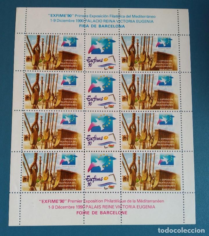 HOJA 12 VIÑETAS EXFIME 90 - BARCELONA - NUEVA (Sellos - España - Pruebas y Minipliegos)