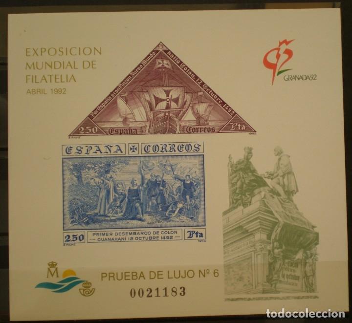 ESPAÑA PRUEBA OFICIAL EDIFIL Nº 25.- EXP. MUNDIAL FILATELIA GRANADA 92 (Sellos - España - Pruebas y Minipliegos)