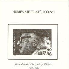 Sellos: HOMENAJE FILATÉLICO EDIFIL 2 RAMÓN CARANTE FERIA DEL SELLO MADRID 2005 NL821. Lote 176381523