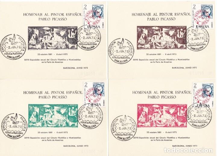 JUEGO DE 5 HOJAS HOMENAJE A PABLO PICASSO AÑO 1973 EXPOSICIÓN FILATÉLICA DE BARCELONA (Sellos - España - Pruebas y Minipliegos)