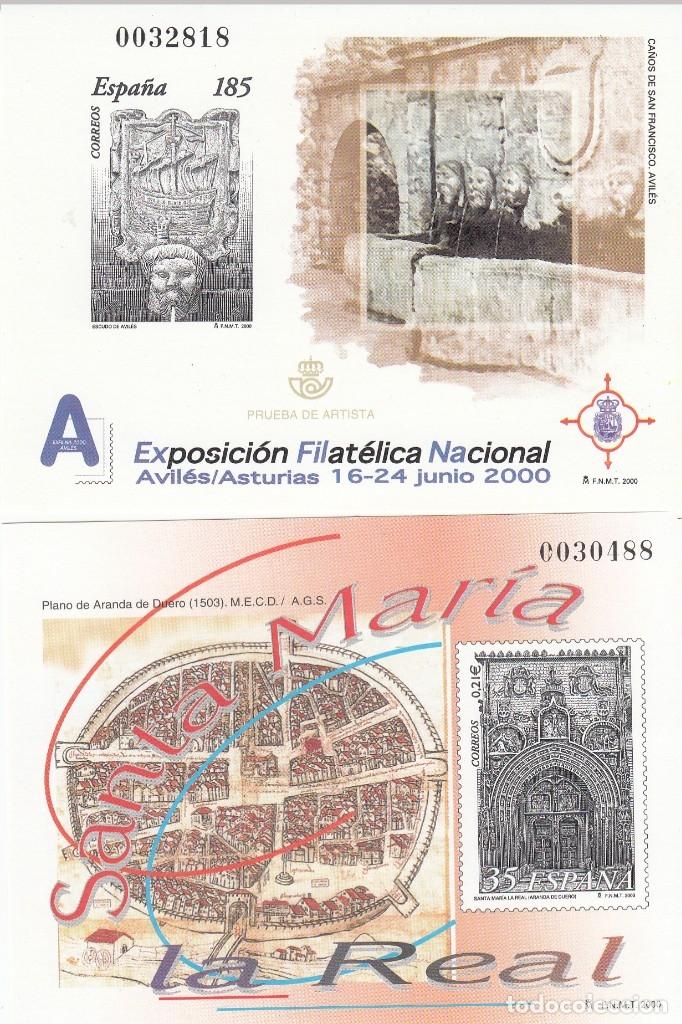 2000 PRUEBAS OFICIALES NUMS. 72 Y 73 -EXFILNA 2000 AVILÉS - STA. MARIA LA REAL (ARANDA DE DUERO) (Sellos - España - Pruebas y Minipliegos)