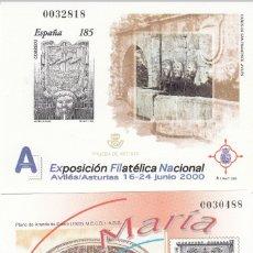 Sellos: 2000 PRUEBAS OFICIALES NUMS. 72 Y 73 -EXFILNA 2000 AVILÉS - STA. MARIA LA REAL (ARANDA DE DUERO). Lote 180012410