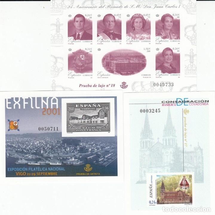 2001 PRUEBAS OFICIALES NUMS. 74-75-76 -COVADONGA- EXFILNA 2001 (VIGO)- 25 ANIV. REINADO SM. JUAN CAR (Sellos - España - Pruebas y Minipliegos)
