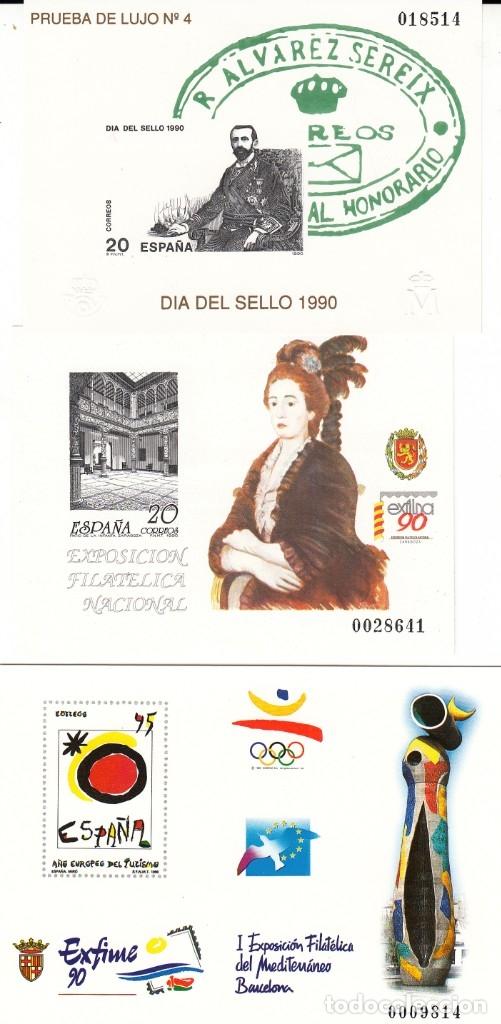 1990 PRUEBAS NUMS. 20-21-22 DIA DEL SELLO- EXFILNA 90 - EXFIME 90 (Sellos - España - Pruebas y Minipliegos)