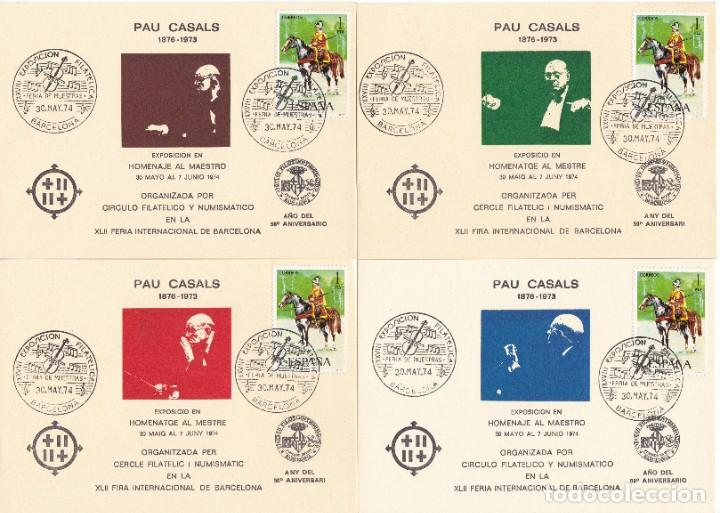 JUEGO DE 4 HOJAS HOMENAJE A PAU CASALS AÑO 1974 EXPOSICIÓN FILATÉLICA DE BARCELONA (Sellos - España - Pruebas y Minipliegos)