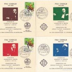 Sellos: JUEGO DE 4 HOJAS HOMENAJE A PAU CASALS AÑO 1974 EXPOSICIÓN FILATÉLICA DE BARCELONA . Lote 183413713
