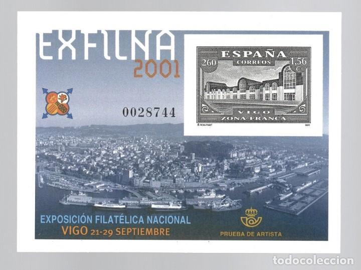 PRUEBA DE ARTISTA (2001) : EXPOSICIÓN FILATÉLICA NACIONAL EXFILNA 2001 - VIGO ZONA FRANCA (Sellos - España - Pruebas y Minipliegos)