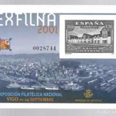 Sellos: PRUEBA DE ARTISTA (2001) : EXPOSICIÓN FILATÉLICA NACIONAL EXFILNA 2001 - VIGO ZONA FRANCA. Lote 183465323