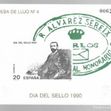 Sellos: PRUEBA DE LUJO Nº 4 - DÍA DEL SELLO 1990 / R. ALVAREZ SEREIX. Lote 183466045