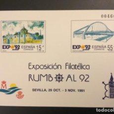 Timbres: 1991-ESPAÑA EXPO SEVILLA PRUEBA OFICIAL 23 EXPOSICION FILATELICA RUMBO AL 92. Lote 253232070