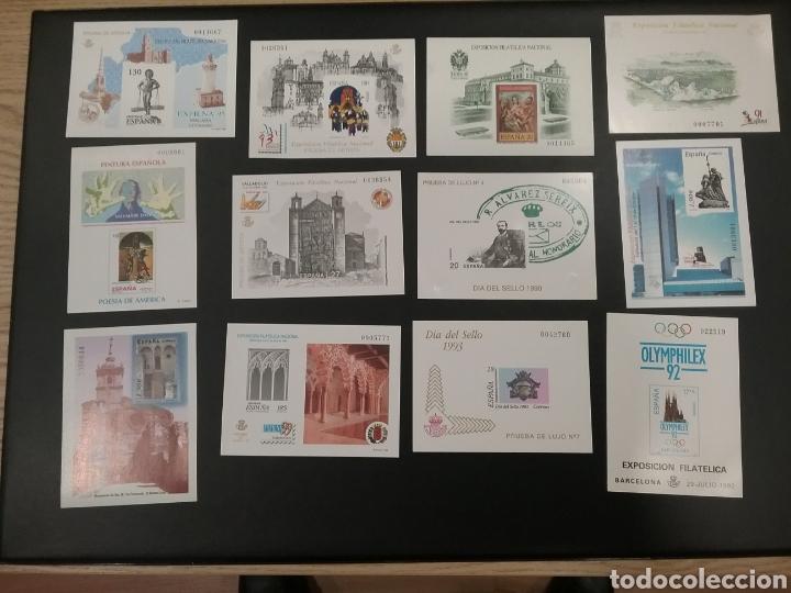 LOTE DE 12 PRUEBAS DE LUJO, COLOR, DE ARTISTA, ..... (Sellos - España - Pruebas y Minipliegos)