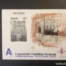 Sellos: 2000-ESPAÑA PRUEBA OFICIAL Nº 72 EXPOSICIÓN FILATELICA NACIONAL EXFILNA 2000 - AVILÉS -. Lote 183992503