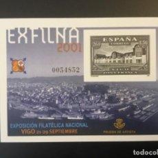 Sellos: 2001-ESPAÑA PRUEBA OFICIAL 75 EXPOSICIÓN FILATÉLICA NACIONAL - EXFILNA 2001 - VIGO. Lote 184100196