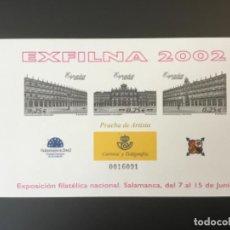 Sellos: 2002-ESPAÑA PRUEBA OFICIAL 78 EXPOSICIÓN FILATÉLICA NACIONAL EXFILNA 2002 - SALAMANCA -. Lote 206446340