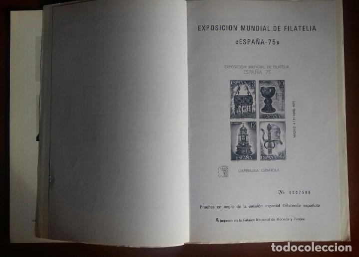 Sellos: Catálogo Exposición Mundial de Filatelia. España75 + Pruebas en negro - Foto 3 - 184925528