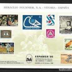 Sellos: HOJA RECUERDO HERACLIO FOURNIER ESPAMER 80 - 192. Lote 189193416
