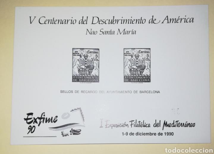ESPAÑA 1990 HOJA RECUERDO EDIFIL 122 EXPOSICIÓN FILATÉLICA DEL MEDITERRÁNEO EXFIME 90 BARCELONA (Sellos - España - Pruebas y Minipliegos)