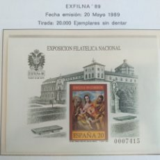 Sellos: ESPAÑA SELLOS PRUEBA LUJO HOJA Nº 19 AÑO 1989 EXFILNA 89. Lote 194676193