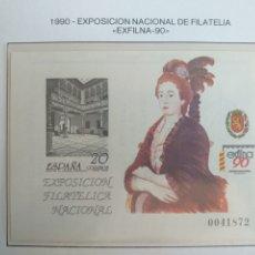 Sellos: ESPAÑA SELLOS PRUEBA LUJO HOJA Nº 21 AÑO 1990 EXFILNA 90. Lote 194701315