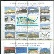 Selos: 1992. EXPOSICIÓN UNIVERSAL SEVILLA. EDIFIL 3188/9**MNH (MP 42A Y 42B) MINIPLIEGOS DE 12 SELLOS.. Lote 214962461