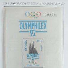 Sellos: ESPAÑA SELLOS PRUEBA ARTISTA LUJO HOJA Nº 26 1992 EXPOSICIÓN FILATELICA OLYMPHILEX 92. Lote 194861852