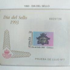 Sellos: ESPAÑA SELLOS PRUEBA LUJO 7 HOJA Nº 28 1993 DÍA DEL SELLO. Lote 194989570