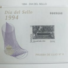 Sellos: ESPAÑA SELLOS PRUEBA LUJO 8 HOJA Nº 31 1994 DÍA DEL SELLO. Lote 195063305