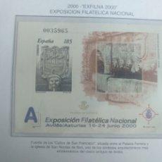 Sellos: ESPAÑA SELLOS PRUEBA HOJA Nº 77 2000 EXFILNA 2000 AVILÉS. Lote 195109720