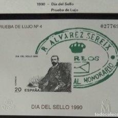Sellos: PRUEBA DE LUJO Nº 4 DIA DEL SELLO 1990 ALVAREZ SEREIX. SE ENTREGA CON FILOSTUCHE. Lote 196221653