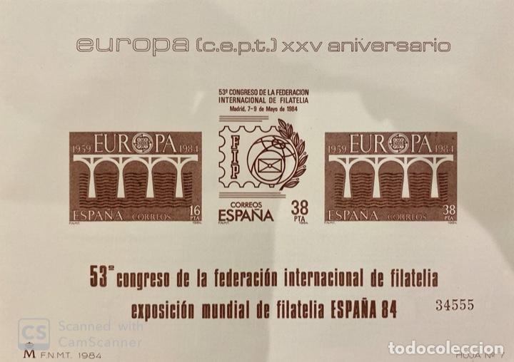 HOJA Nº 7. EUROPA (C.E.P.T.) XXV ANIVERSARIO. EXPOSICION MUNDIAL FILATELIA ESPAÑA 84. NUEVO. (Sellos - España - Pruebas y Minipliegos)