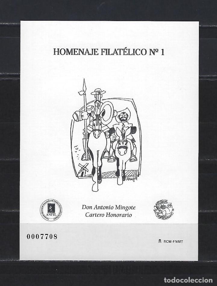 HOMENAJE FILATELICO 1 ANTONIO MINGOTE QUIJOTE CERVANTES 2005 BUEN ESTADO (Sellos - España - Pruebas y Minipliegos)