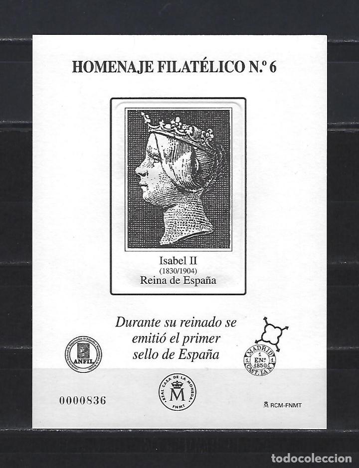 HOMENAJE FILATELICO 6 PRUEBA ISABEL II Nº1 2010 BUEN ESTADO (Sellos - España - Pruebas y Minipliegos)
