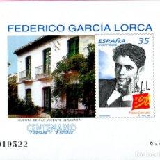 Sellos: PRUEBA OFICIAL 65 1° CENTENARIO NACIMIENTO FEDERICO GARCÍA LORCA. Lote 198909682