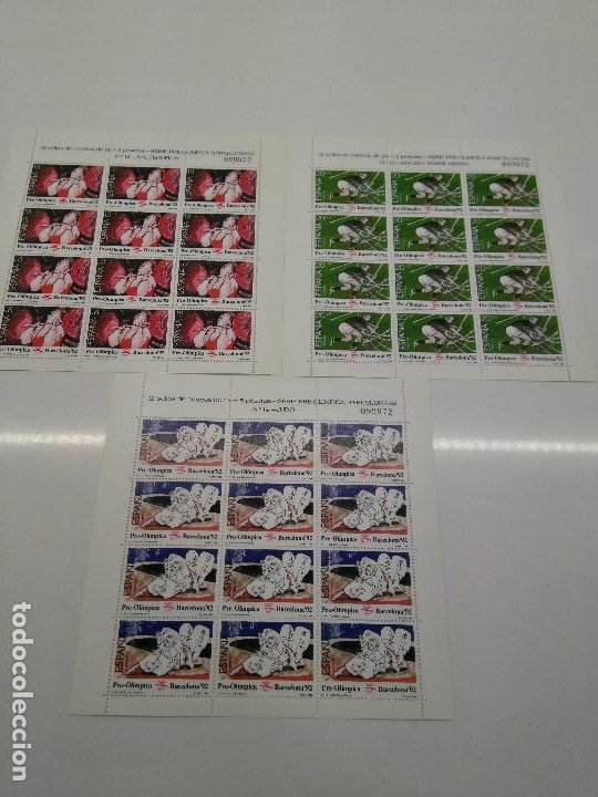MINIPLIEGO 10-11-12-AÑO 1990 BARCELONA 92 HALTEROFILIA HOCKEY JUDO IGUAL NUMERACION EDIFIL 3054-56 (Sellos - España - Pruebas y Minipliegos)