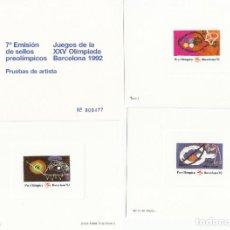 Sellos: BARCELONA 92 - PRUEBAS ARTISTA 7A. EMISIÓN SELLOS PRE-OLIMPICOS EDICIÓN MUESTRA -TIRADA MUY LIMITADA. Lote 205562580
