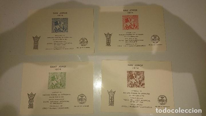 4 HOJAS EXPOSICION DE HISTORIA POSTAL DE CATALUÑA 1974 , DISTINTA NUMERACION . LEER DESCRIPCION (Sellos - España - Pruebas y Minipliegos)