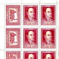 Sellos: PLIEGO DE 12 VIÑETAS 4 DIFERENTES FERROCARRIL BARCELONA - MATARO 1848 - 1948 -COLOR ROJO MUY RARA. Lote 210641259