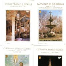 Sellos: ESPAÑA - 6 HOJAS RECUERDO DE CATALUNYA EN ELS SEGELLS - IMAGENES DE CATALUÑA. Lote 210643229