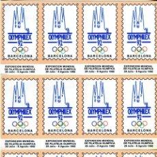 Sellos: 12 VIÑETAS DE OLYMPHILEX 1992 EN BARCELONA EXPO. FILA. MUNDIAL OLIMPICA. Lote 210646350