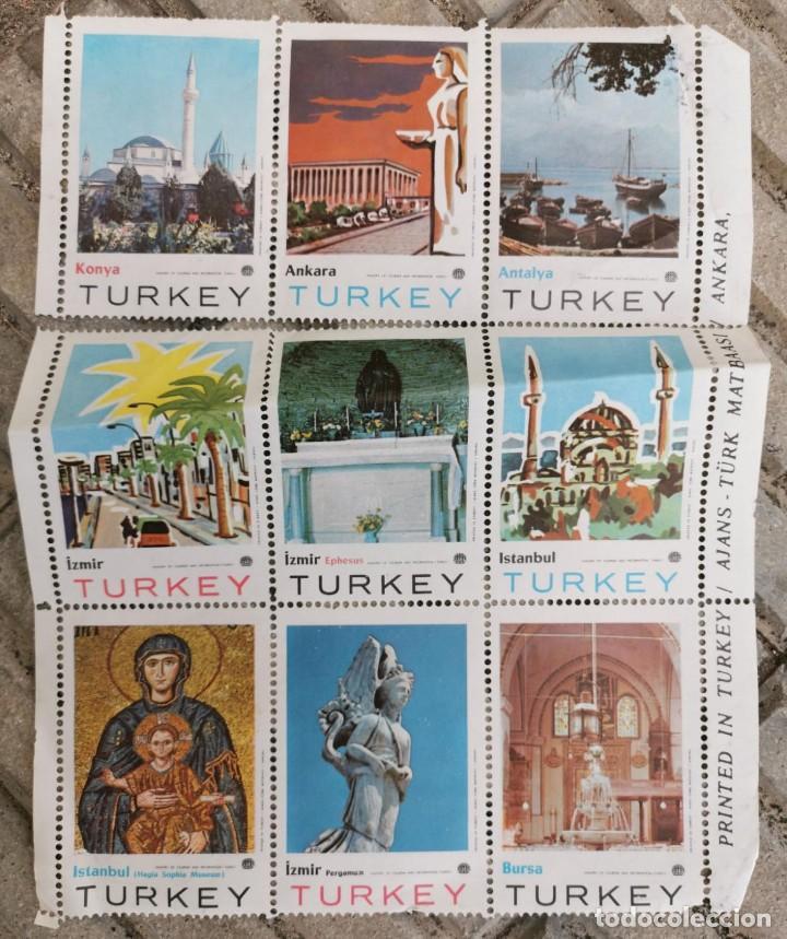 9 SELLOS - VIÑETAS COLECCIÓN COMPLETA TURKEI - TURQUÍA - MUY GRANDES - DE COLECCIONISTA (Sellos - España - Pruebas y Minipliegos)