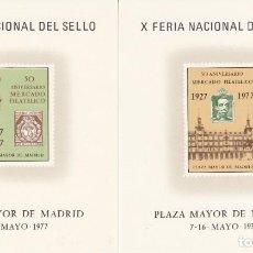Sellos: HOJITAS RECUERDO NUMS. 48 Y 49 1977 - X FERIA NACIONAL DEL SELLO MADRID. Lote 215988216