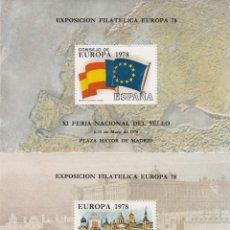 Sellos: HOJITAS RECUERDO NUMS. 61 Y 62 1977 - XI FERIA NACIONAL DEL SELLO MADRID - EXPOSICION EUROPA 78. Lote 215988507