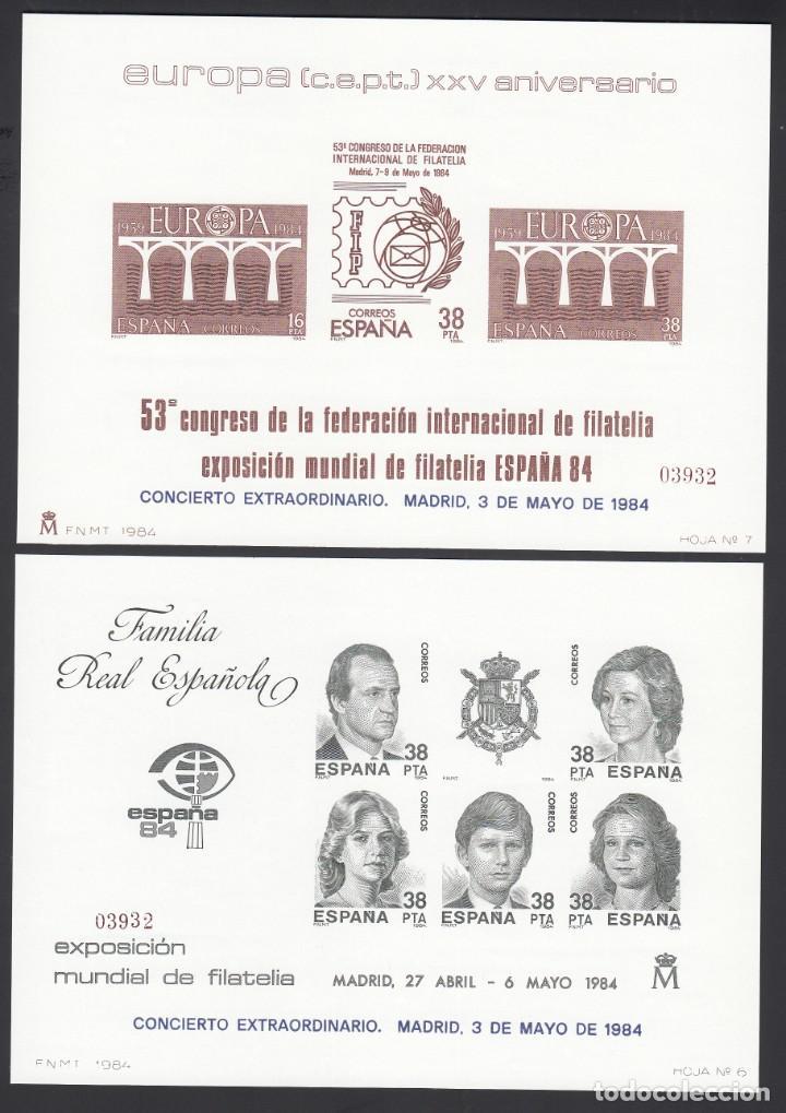 ESPAÑA, 1984 EDIFIL Nº 6 / 7, EXPOSICIÓN MUNDIAL DE FILATELIA, ESPAÑA 84, MADRID. MISMA NUMERACIÓN. (Sellos - España - Pruebas y Minipliegos)