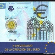 Francobolli: PRUEBA OFICIAL CORREOS DE ESPAÑA – EDIFIL Nº 98 - 2009 Xº ANIVERSARIO DE LA CREACIÓN DEL EURO. Lote 224313863