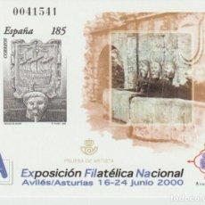 """Selos: ESPAÑA. PRUEBA OFICIAL Nº 72. """"EXFILNA'2000"""". NUEVA. Lote 226808045"""