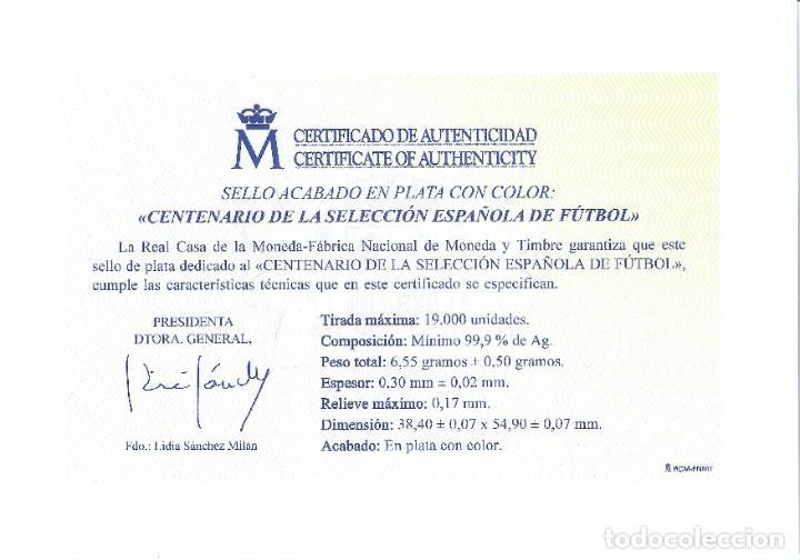 Sellos: PRUEBA DE LUJO NÚMERO 149. CENTENARIO DE LA SELECCIÓN ESPAÑOLA DE FÚTBOL 2020. CERTIFICADO. - Foto 2 - 245535130