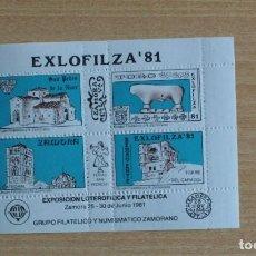 Selos: HOJA BLOQUE GRUPO FILATELICO Y NUMISMATICO ZAMORANO JUNIO 1981, EXLOFILZA 81. Lote 236424705