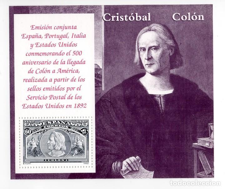 ESPAÑA - V CENTENARIO DEL DESCUBRIMIENTO DE AMERICA / CRISTOBAL COLON - AÑO 1992 - 1 HB NUEVA (Sellos - España - Pruebas y Minipliegos)