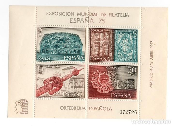 ESPAÑA - EXPOSICION MUNDIAL DE FILATELIA DE MADRID 75 / ORFEBRERIA ESPAÑOLA - AÑO 1975 - 1 HB NUEVA (Sellos - España - Pruebas y Minipliegos)